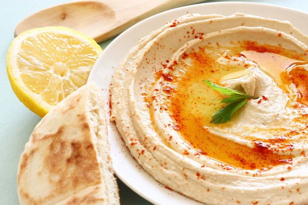 hummus dip plate and lemon