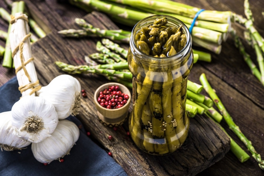Grilled and pickled asparagus